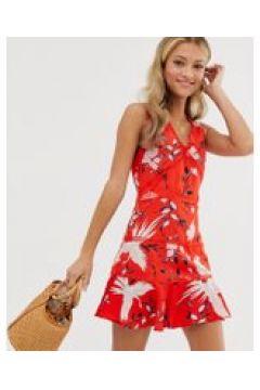 Parisian - Kleid mit fernöstlichem Vogel-Print und Leiterspitze - Rot(95032325)