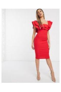 Vesper - Vestito midi rosso con scollo Bardot(120327439)