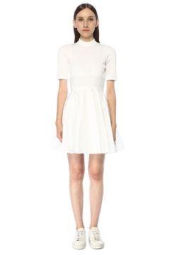 Alexander Wang Kadın Beyaz Dik Yaka Kısa Kol Mini Poplin Elbise 0 US(117384922)