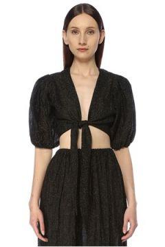Lisa Marie Fernandez Kadın Siyah Yakası Bağlamalı Balon Kollu Crop Bluz XS EU(113464515)
