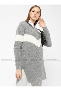 Gray - Stripe - Acrylic -- Tunic - Meliana(110331023)
