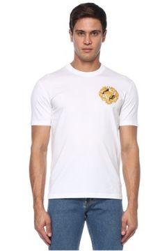 Versace Erkek Beyaz Gold Medusa Detaylı T-shirt S EU(120885135)