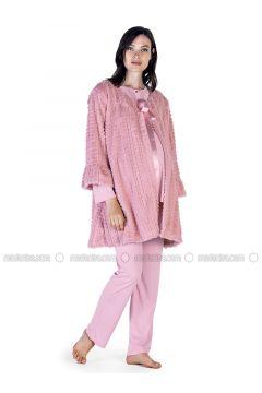 Powder - Crew neck - Cotton - Viscose - Pyjama - Artış Collection(110332897)