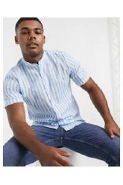 Pull&Bear - Camicia a righe con collo serafino azzurra-Blu(120255281)
