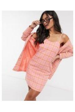 Heartbreak - Vestito sartoriale rosa e corallo a quadri con scollo rotondo e spalline sottili(120334868)