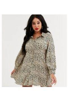 In The Style x Dani Dyer Plus - Vestitino camicia skater con stampa animalier-Multicolore(120332898)