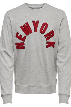 Only & Sons Gri New York Nakışlı Sweatshirt L 884244(118431713)