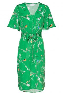 Dress With Short Sleeves In Birdpri Kleid Knielang Grün COSTER COPENHAGEN(114163268)