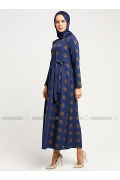 Navy Blue - Minc - Multi - Crew neck - Unlined - Dresses - Almera(110336509)