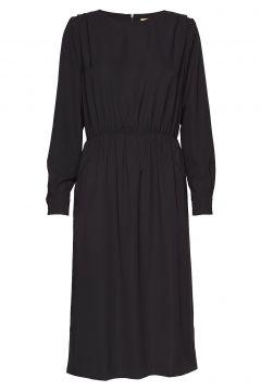 Elay Shirtsleeve Solid Kleid Knielang Schwarz WHYRED(114163585)