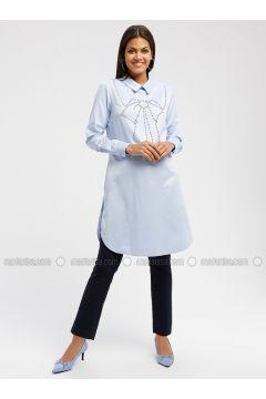Blue - Point Collar - Tunic - MOODBASİC(110339180)
