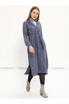 Indigo - Shawl Collar - Unlined - Dresses - Kaktüs(110319057)