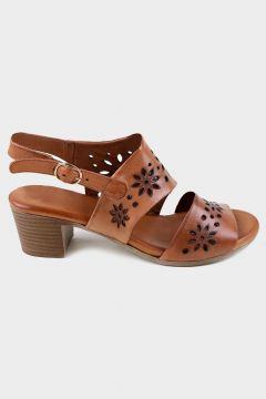 SHOELAB Taba Hakiki Deri Kadın Comfort Topuklu Sandalet(124970230)