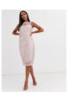 Lipsy Premium - Vestito midi in pizzo con paillettes-Rosa(120321286)