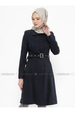 Navy Blue - Fully Lined - Point Collar - Coat - Tekbir(110335679)