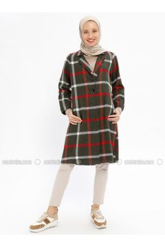 Khaki - Checkered - Unlined - Shawl Collar - Cotton - Topcoat - Beha Tesettür(110320387)