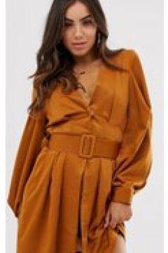 UNIQUE21 - Vestito stile blazer con cintura e maniche a palloncino-Rosa(120322587)