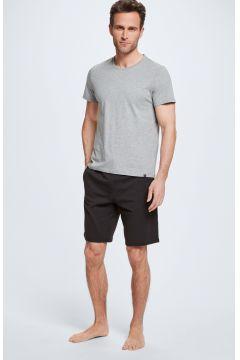 Pyjama, T-Shirt und Shorts, grau/schwarz(111093476)