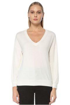 Tru Kadın Beyaz V Yaka Düşük Kol Sweatshirt S/M EU(124437847)