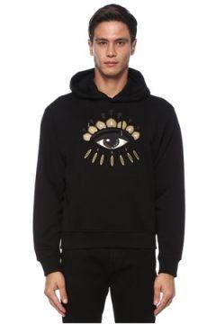 Kenzo Erkek Siyah Kapüşonlu Göz Nakışlı Sweatshirt S EU(121411964)