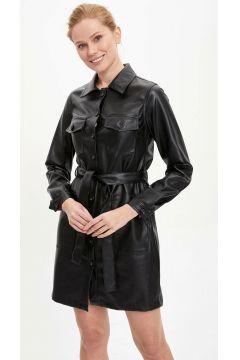 DeFacto Kadın Deri Görünümlü Dokuma Elbise(108642914)