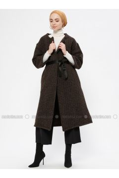 Brown - Unlined - Shawl Collar - Topcoat - Peramood(110319616)