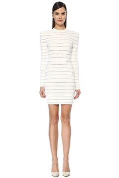 Balmain Kadın Beyaz Logo İşlemeli Şeritli Mini Elbise 36 FR(107373166)