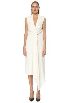 Alexander McQueen Kadın Beyaz Yakası Bağlamalı Midi Abiye Elbise 42 IT(123342132)