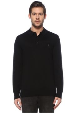Allsaints Erkek Mode Siyah Polo Yaka Logo Nakışlı Yün Triko S EU(126589437)