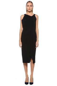 Roland Mouret Kadın Siyah Lacivert Asimetrik Yaka Midi Abiye Elbise S EU(123840687)