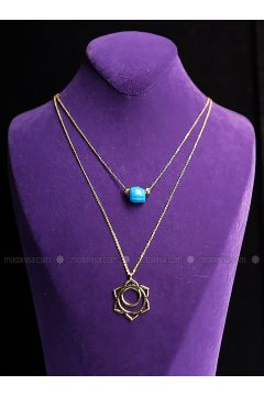 Blue - Gold - Necklace - By Geda(110313910)