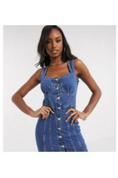 Parisian Tall - Vestito corto di jeans lavaggio blu medio con bottoni(122471979)