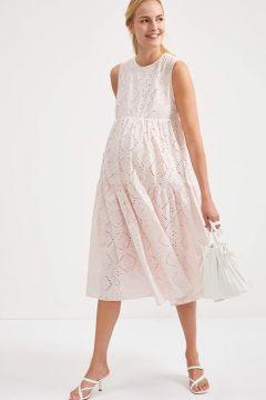DeFacto Kadın Maternity Volanlı Askılı Uzun Örme Elbise(125931897)