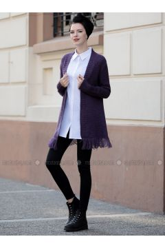 Purple - Acrylic -- Jacket - Selma Sarı Design(110320302)