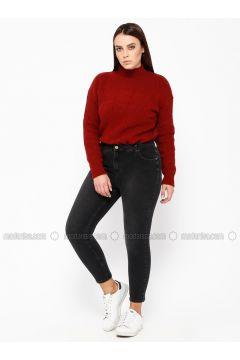 Smoke-coloured - Denim - Plus Size Pants - RMG(110322978)