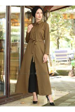 Tan - Point Collar - Unlined - Dresses - İnşirah(110319894)