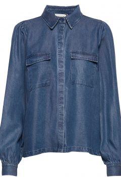 Cas Shirt Langärmliges Hemd Blau JUST FEMALE(108839075)