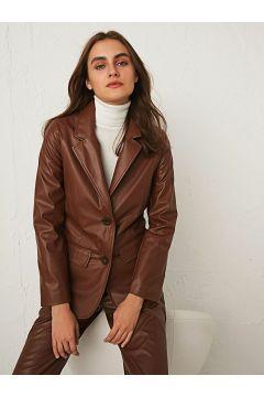 Kadın Deri Görünümlü Blazer Ceket(126605020)
