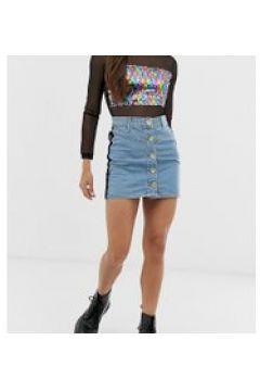 See You Never - Jeans-Minirock mit Pailletten in Regenbogenfarben - Blau(95023967)