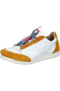 Baskets Moma sneakers blanc cuir jaune daim AB619(115393846)