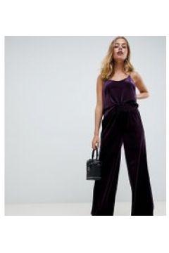 Y.A.S Petite - Kurz geschnittene Samthose mit hoher Taille - Violett(86678008)