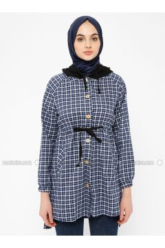 Navy Blue - Plaid - Point Collar - Tunic - SELLY(110330498)