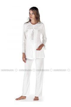 Ecru - Crew neck - Cotton - Viscose - Pyjama - Artış Collection(110332882)