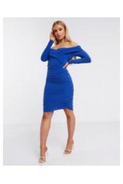 Club L - Vestito corto arricciato a maniche lunghe con scollo a cuore cobalto-Blu(120323590)