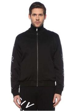 Givenchy Erkek Siyah Dik Yaka Logo Bantlı Fermuarlı Sweatshirt S EU(126433510)