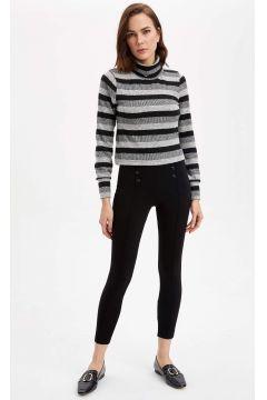 DeFacto Kadın Slim Fit Çıtçıt Detaylı Tayt(125922298)