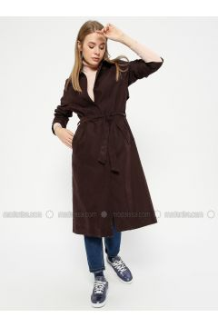 Plum - Unlined - Point Collar - Trench Coat - Pitti Collection(110322745)