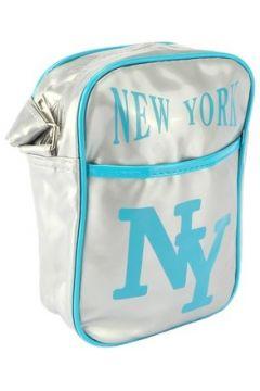 Sac Bandouliere Hip Hop Honour Sacoche NY Grise et Turquoise streetwear(88491677)