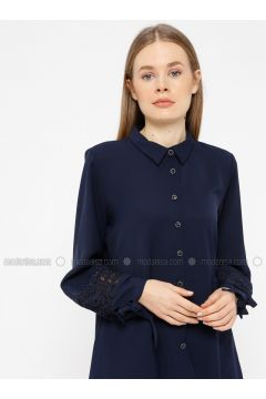 Navy Blue - Point Collar - Blouses - REPP(110339060)