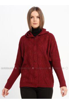 Maroon - Unlined - Acrylic -- Jacket - Sementa(110337024)